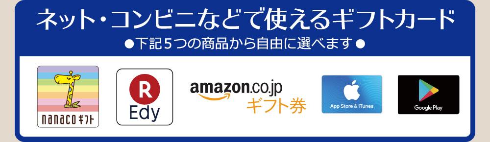 [ネット・コンビニなどで使えるギフトカード<5つの商品から自由に選べます>]nanacoギフト・楽天Edy・Amazonギフト券・App Store & iTunes ギフトカード・Google Play ギフトカード